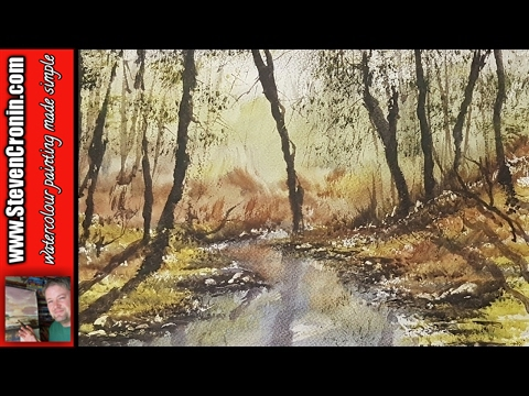How to paint a simple forest stream in watercolour