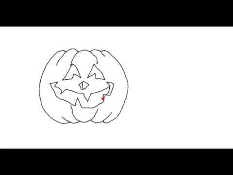 Zeichne einen Happy Halloween Kürbis mit einfachen Strichen ...