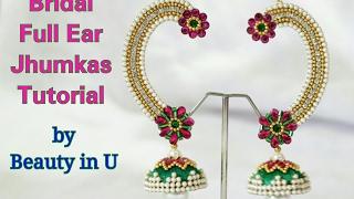 DIY   Designer Bridal Full Ear Jhumkas making at Home   Silk Thread/Paper Earrings    Tutorial