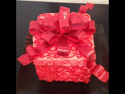 Cake Decorating Gift Experience : Gift Box Cake- Cake Decorating- Buttercream - YouTube