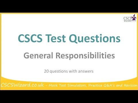CSCS Test Questions - General Responsibilities - Operatives