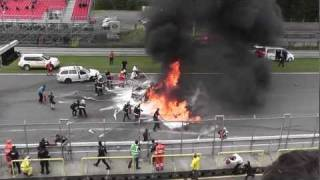 Horrible crash Brno Crash FIA GT Brno Lamborghini Gallardo Super Trofeo LP 560-4 crash .mpg
