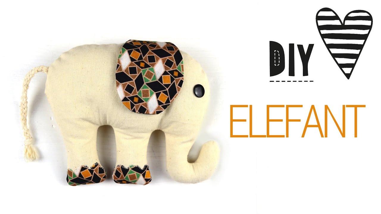 DIY Elefant Nähen / Kuscheltier mit Schnittmuster - YouTube