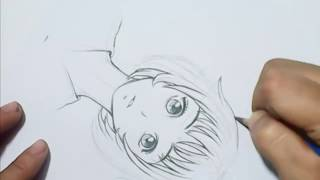 how to draw anime Manga Girl Face and Hair in Cute style .#-)