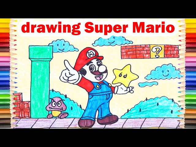 [Easy] DRAW SUPER MARIO - Video Drawing and Coloring Super Mario Step by Step