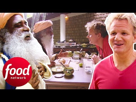 Indian Guru Tries To Convince Gordon Ramsay To Be Vegetarian   Gordon's Great Escape