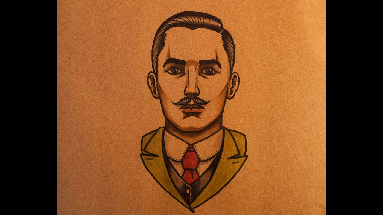 How to Draw an Old School Gentleman Front View by ...