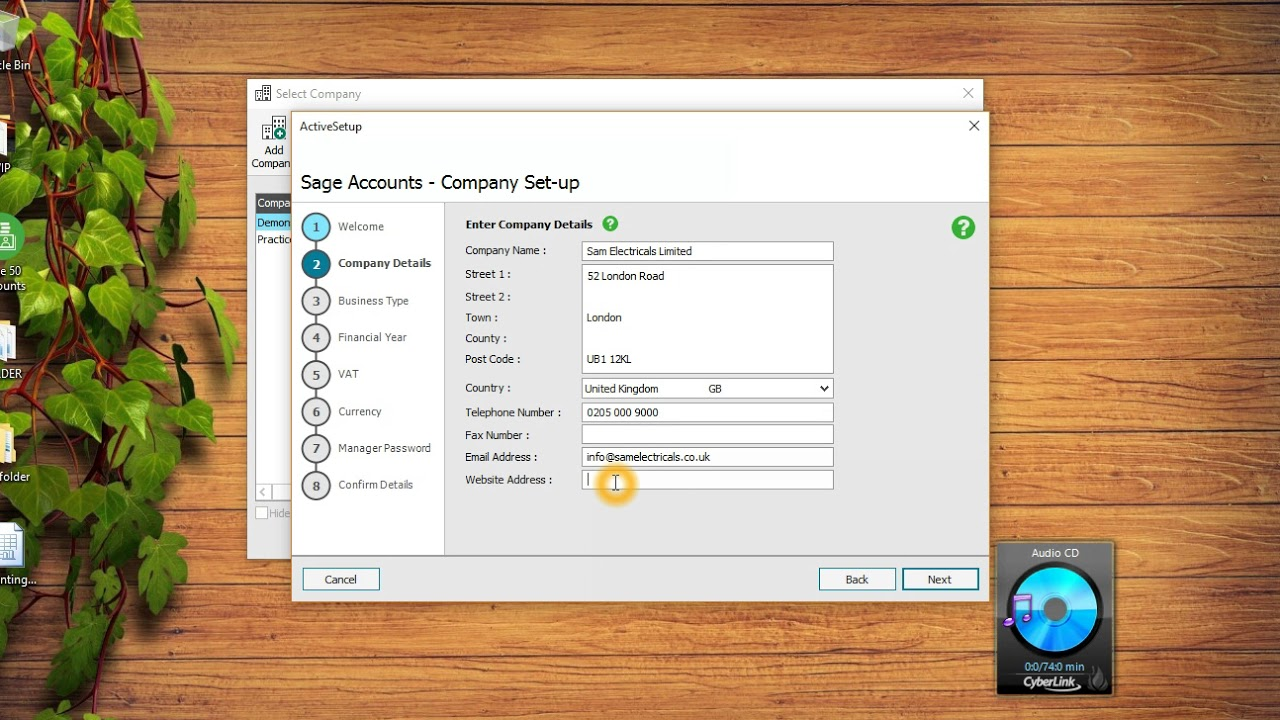 Set up Company in Sage 50 accounts P1