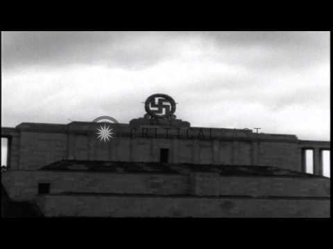 German Swastika emblem is demolished at Zeppelinfeld in Nurnberg,Germany. HD Stock Footage