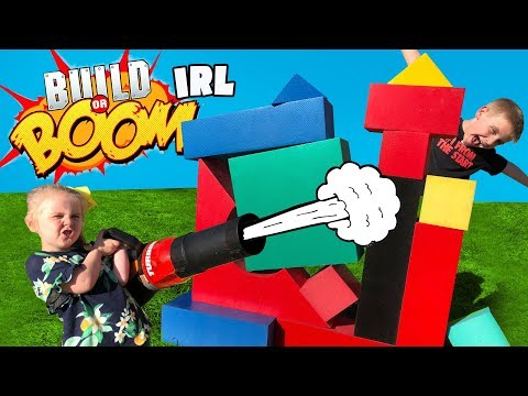 Build Or BOOM Game In Real Life!! DIY Family Fun & Backyard Challenge By KIDCITY