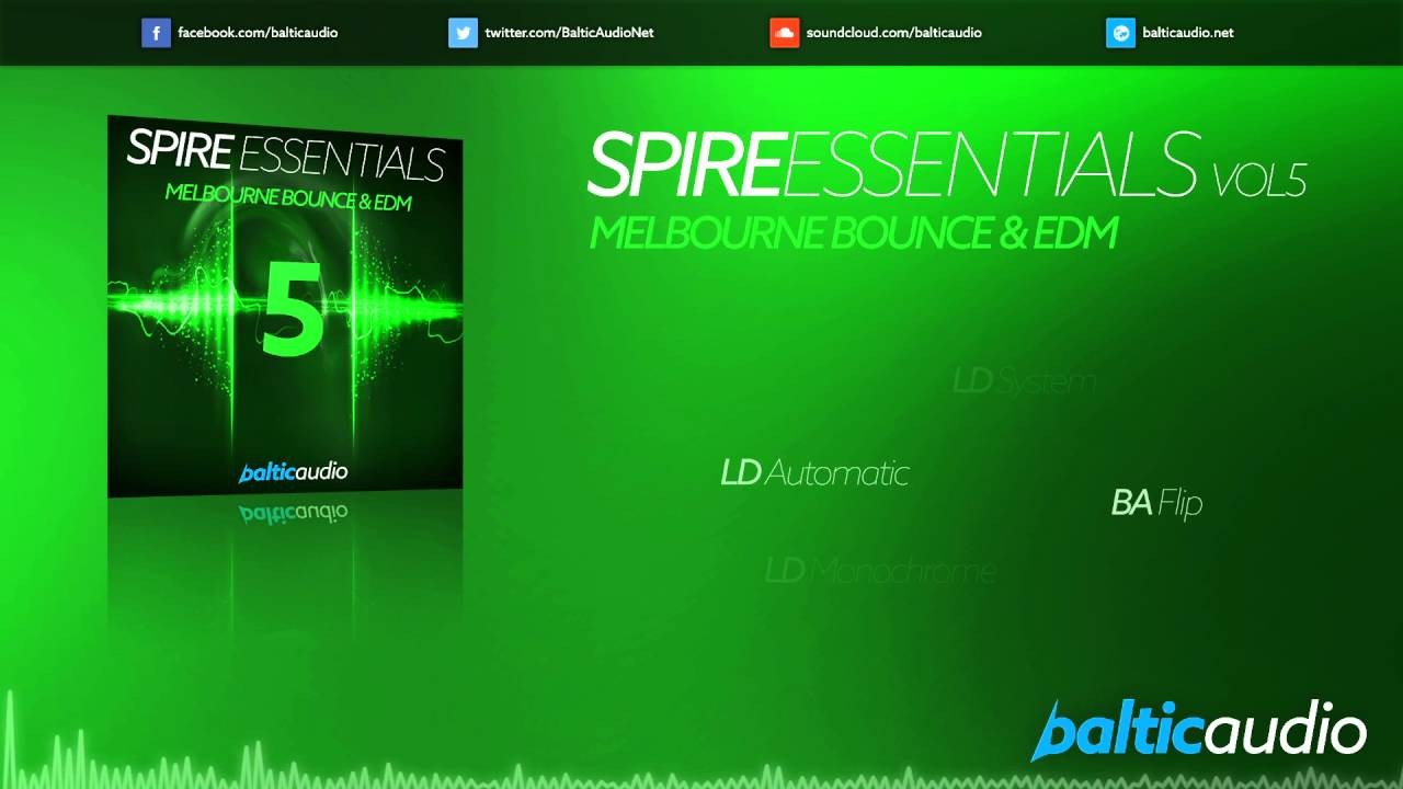 Spire Essentials Vol 5: Melbourne Bounce & EDM (64 Spire presets, 40+ MIDI files)
