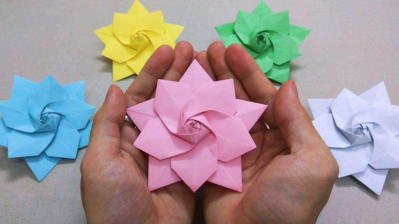 Gấp hoa đào bằng giấy | Origami lotus flower step by step | Gấp giấy origami