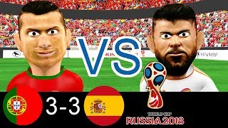 Portugal VS Spain - World Cup 2018- All Goals - Ronaldo hat-trick - Cartoon