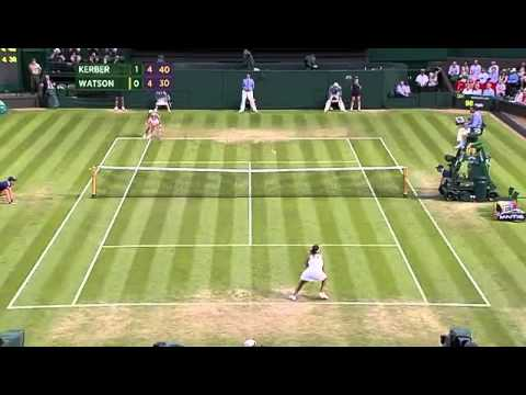 Watson and Kerber in monster rally - Wimbledon 2014.