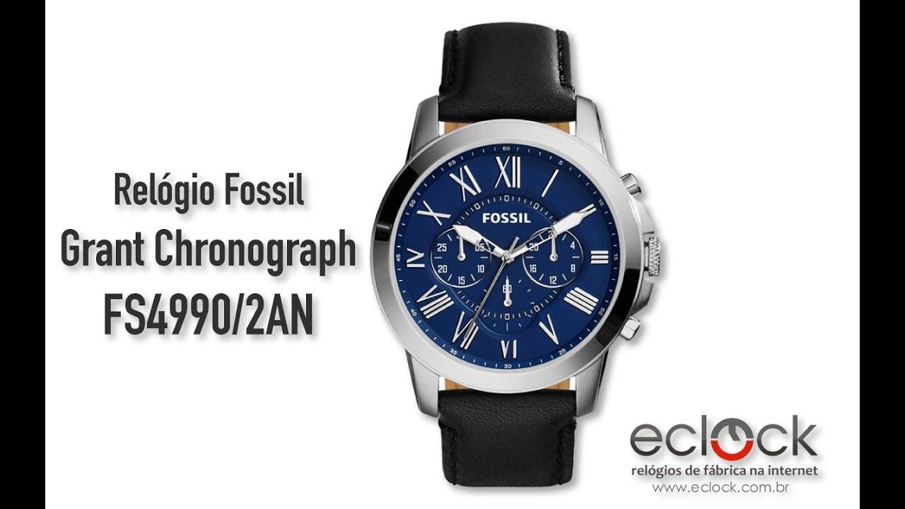 6607451dd14cd Fossil Masculino Grant Chronograph FS4990 2AN - Eclock. Eclock Relógios