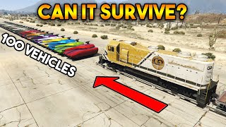 GTA 5 ONLINE : TRAIN VS 100 VEHICLES ! (CAN YOU STOP IT?)