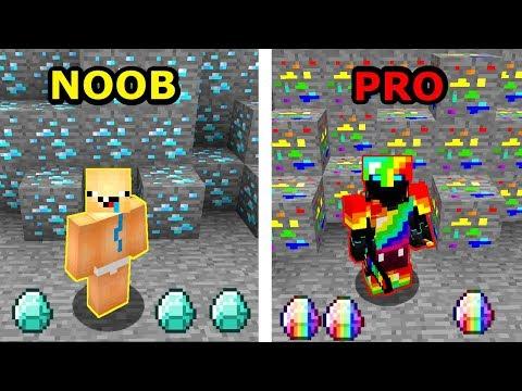 Minecraft NOOB VS PRO- JAK ZNALEŹĆ TĘCZOWE DIAXY W MINECRAFT?!