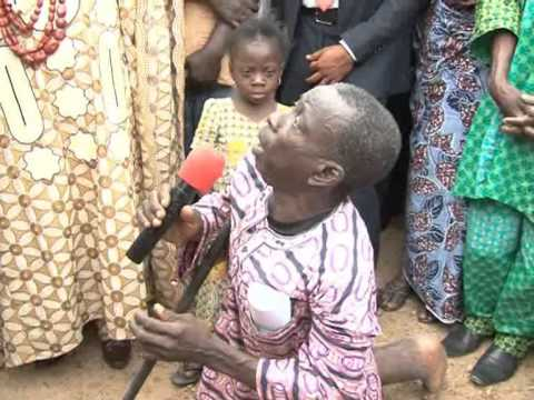 Stomach Infrastructure: Mr. Ayodele Fayose blessed a Crippled Man in Ikoro-Ekiti, Ekiti State.