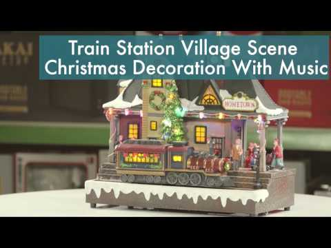 Train Station Village Scene Christmas Decoration With LED Lights And Music
