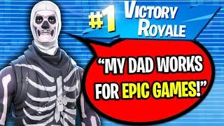 TELLING KIDS MY DAD WORKS FOR EPIC GAMES ON FORTNITE! (I LIED...)