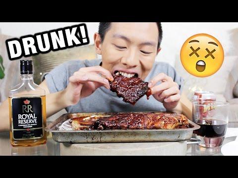 DRUNK MUKBANG | Whisky + BBQ Ribs | Eating Show