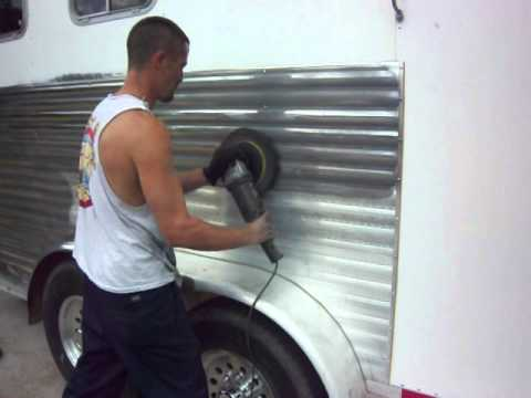 Polishing a Excell Horse Trailer