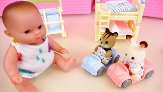 Baby doll and rabbit squirrel bed and car toys play room