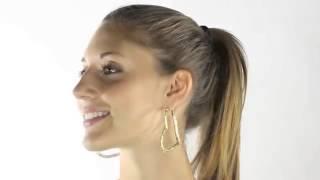 14k Gold Plated Multi Crystal Heart Shaped Hoop Pierced Earrings