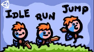 MAKING RUN, IDLE & JUMP 2D GAME ANIMATIONS - UNITY TUTORIAL