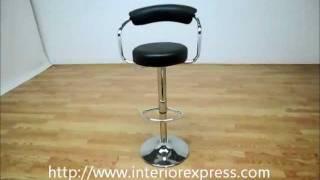 InteriorExpress Omicron Retro Black  Adjustable Swivel Bar Stool