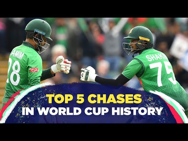 The five highest successful run chases in World Cups, feat. Bangladesh's victory over West Indies