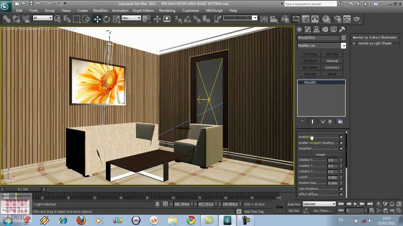 3ds max vray light and camera setting for a living room for Living room 3ds max