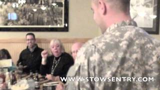 Sgt. Bryan Roberts surprises parents at Stow restaurant with visit for Thanksgiving
