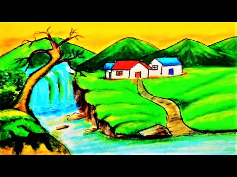 Waterfall Drawing with Oil Pastels | How to Draw Easy Scenery | Waterfall Landscape Painting