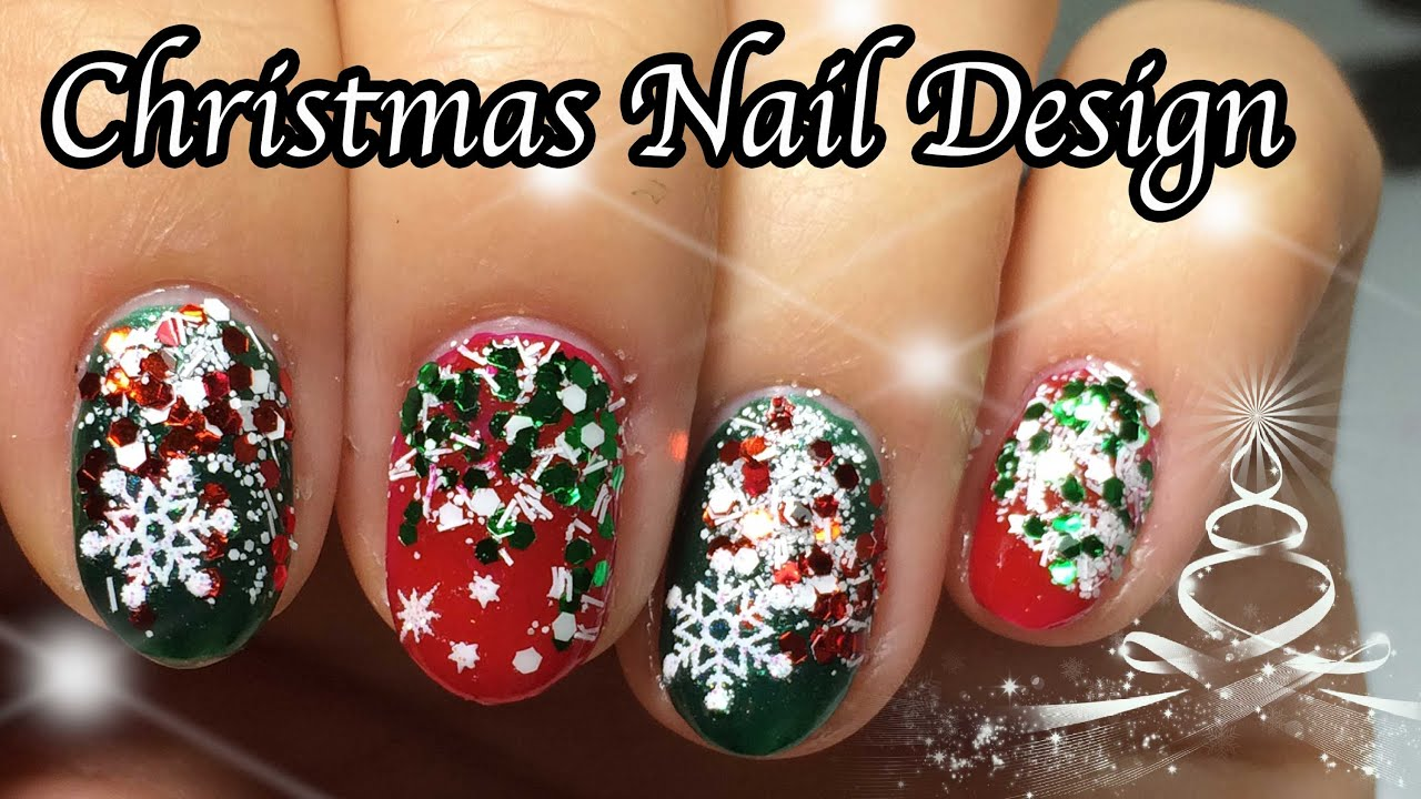 Glitter Nails Last Minute Christmas Nail Design 2014 Youtube