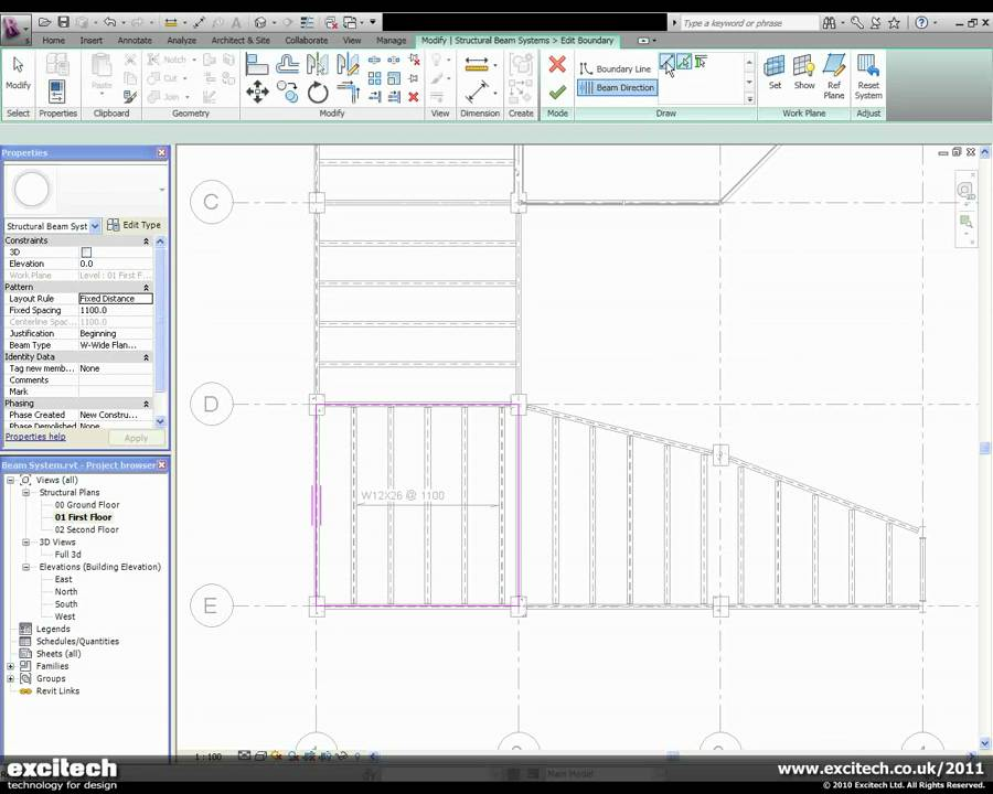 Revit Structure 2011 - Beam System Enhancements