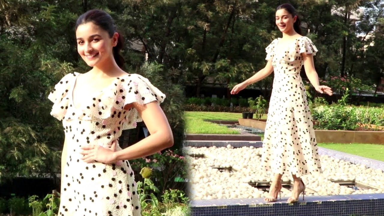 Spotted alia bhatt looks cute in white polka dot dress at karan spotted alia bhatt looks cute in white polka dot dress at karan johars office raazi promotions thecheapjerseys Gallery