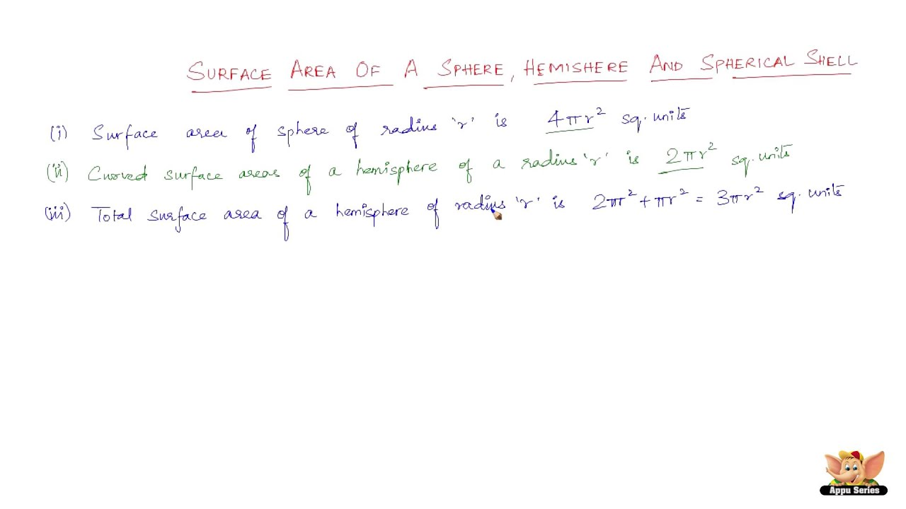All About Surface Area Of Sphere, Hemisphere And Spherical Shell