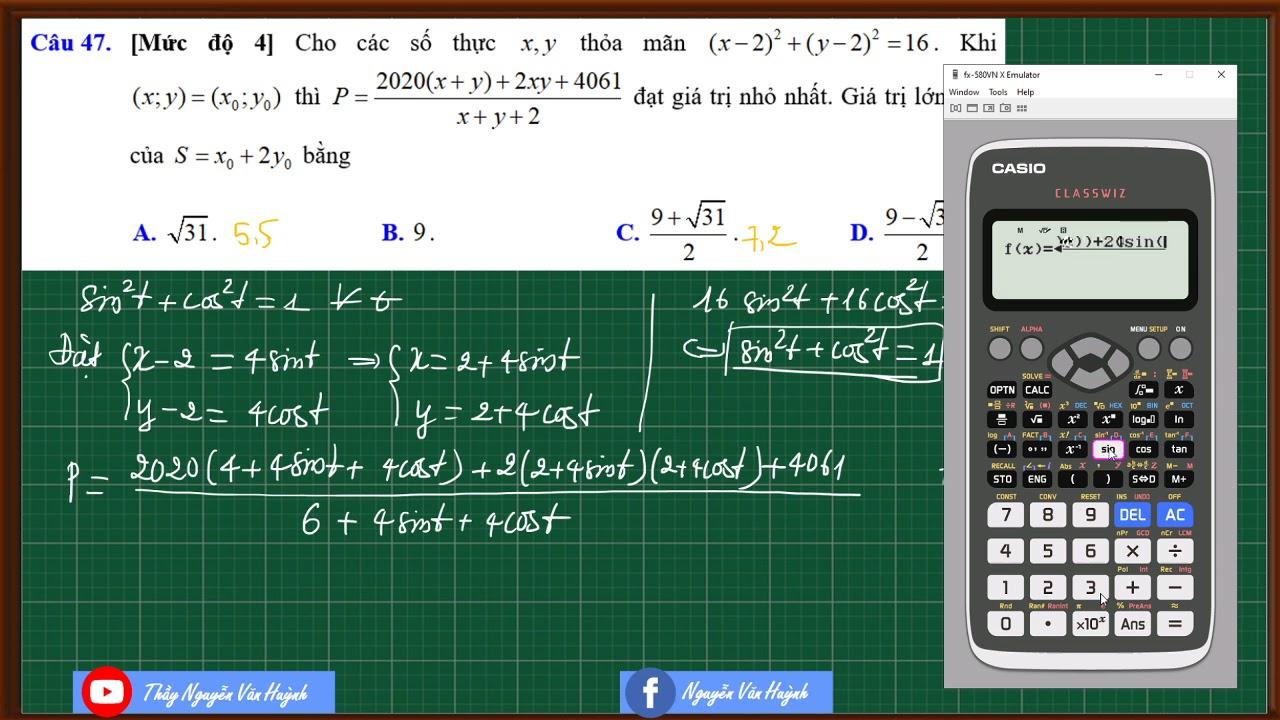 Casio giải nhanh Min Max vận dụng cao trong đề thi THPT|Hàm số VD-VDC