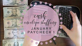 CASH ENVELOPE STUFFING   January 2020   paycheck & budget 1