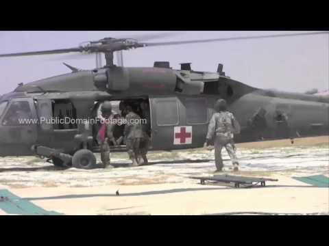 Casualty Evacuation by Helicopter War in Afghanistan Helmand Province 2010 archival footage