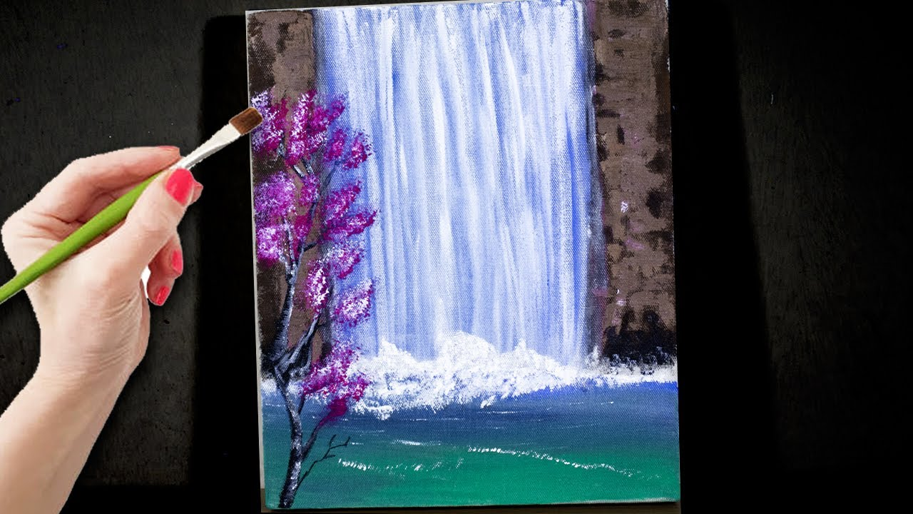 Easy Waterfall Landscape Painting Tutorial For Beginners Acrylic Painting On Canvas 44 Stayhome Youtube
