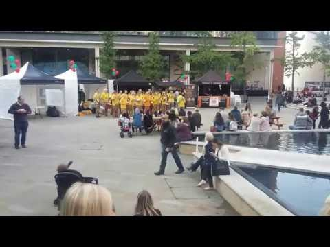 Drummers at The Brindley Place in Birmingham, UK