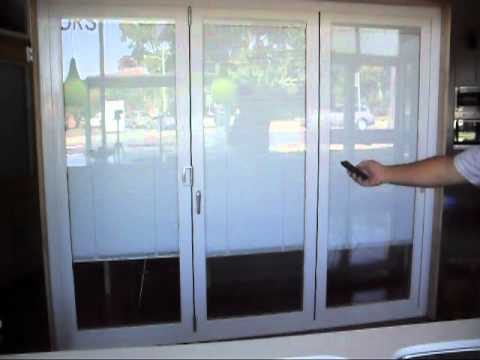 Crown Doors Aluminium Multi-fold Doors with Electrical Operated Blinds