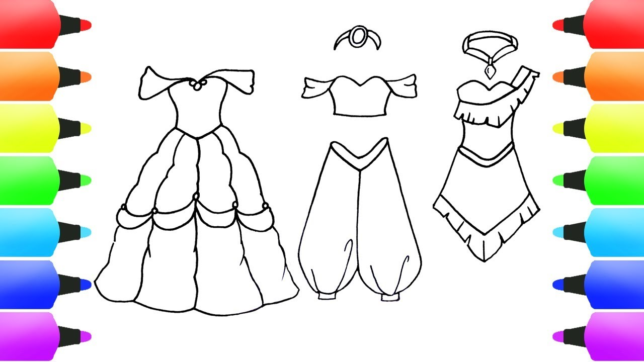 Disney Princess Dress Drawings Belle Jasmine Pocahontas Youtube