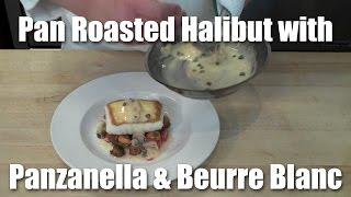 Pan Roasted Halibut, Tomato-panzanella Salad, Lemon-caper Beurre Blanc