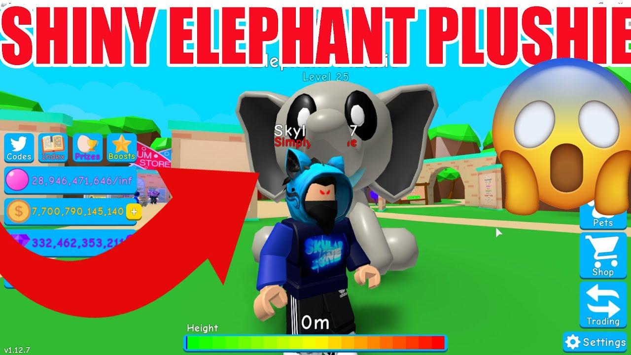 Shiny Elephant Plushie Bubble Gum Simulator Plushy Youtube