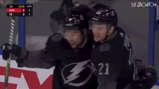Brayden Point feeds Tyler Johnson for his 26th of the season