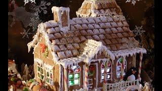 Пряничный домик. Простой рецепт из готового печенья. Собираем с детьми. Новогодний рецепт.