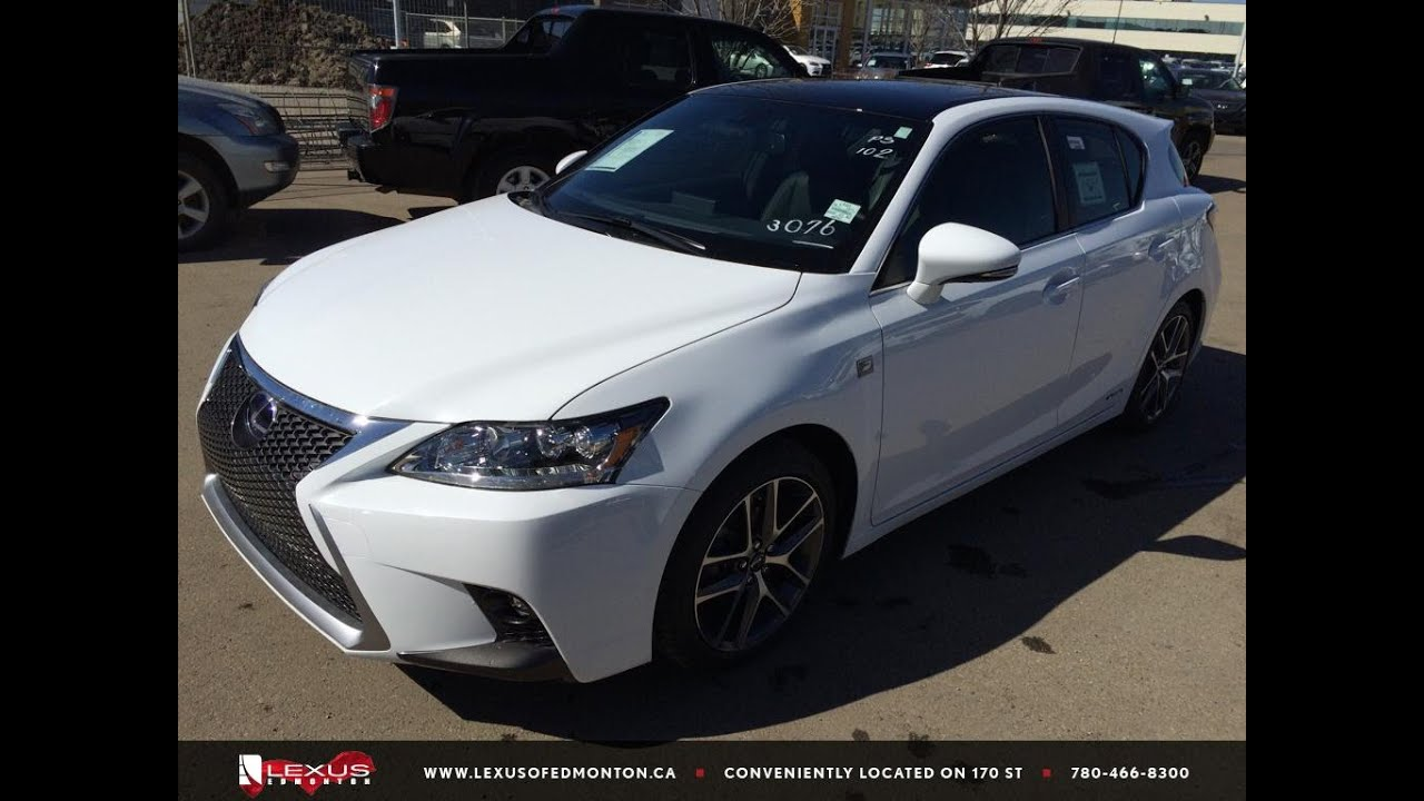 new ultra white 2015 lexus ct 200h fwd hybrid f sport package review lexus of edmonton new. Black Bedroom Furniture Sets. Home Design Ideas